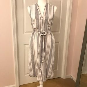 Striped midi length shirt dress